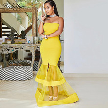 982cfd6e7561 Halinfer 2018 New summer women dress sexy bodycon strapless mesh bandage  dress celebrity party yellow fishtail
