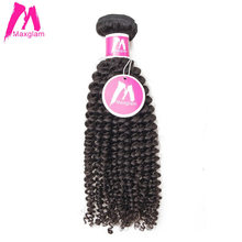 Maxglam Indian Human Hair Weave Bundles Afro Kinky Curly Natural Color Remy Hair Extension Free Shipping(China)