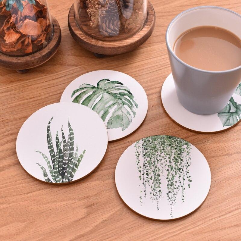 100 pièces CFen A's plante impression bois caboteur tasse Pad antidérapant chauffé tapis café thé boisson sous verres marque Mat peint à la main - 4