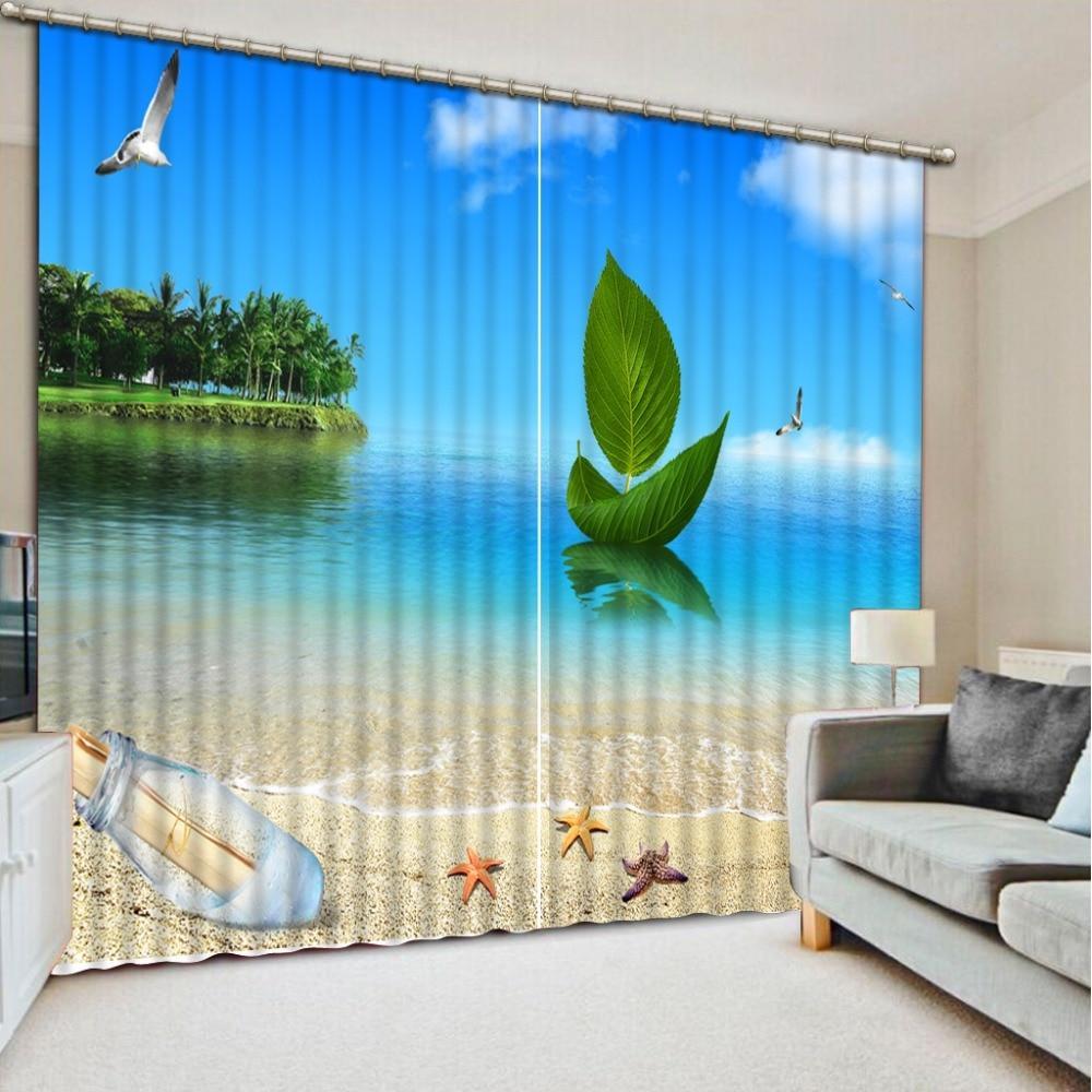 Beach Curtains Luxury Blackout 3D Window Curtains For