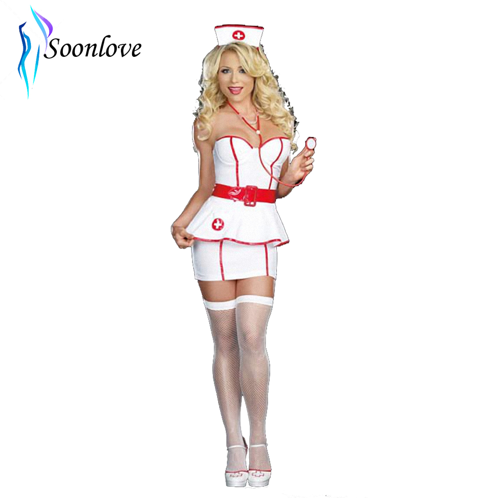 Revealing Seductive Women Hot Girls Lingerie Retro Styled Stretch Nurse Sexy Costume Hospital Doctor Fancy Dress Costume L1473