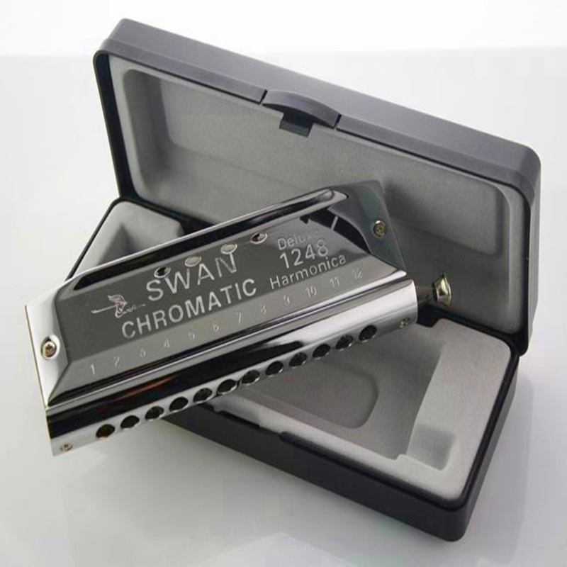 Swan Chromatic Harmonica 12 Holes 48 Tone Gaitas Harmonicas Circular Arc Blow Hole Mouth Ogan Silver Chromatic Harmonica 12 easttop brass chromatic harmonica 16 hole brass abs comb musical instruments mouth organ chromatic slide harmonica good sound