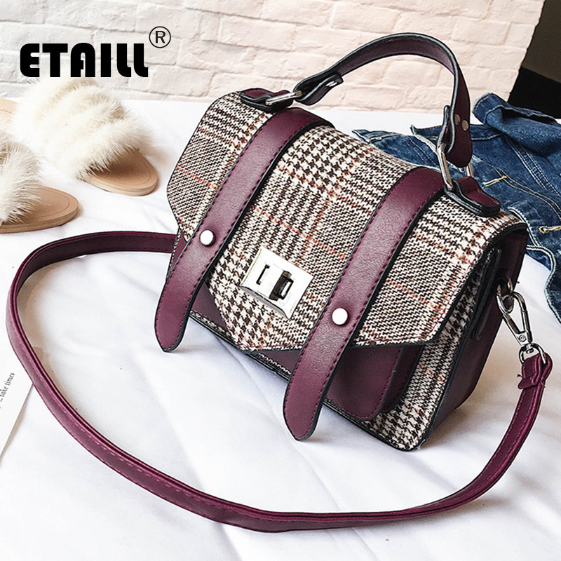 ETAILL Canvas Plaid Top Handle Satchel Bag Women Messenger Bags Vintage  Designer Postman Handbag Female Crossbody 0f7d89a674158