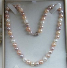 "Fashion girl jewelry store  18"" 9-10MM AKOYA NATURAL WHITE PINK PURPLE PEARL NECKLACE k"