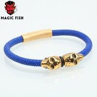 Magic Fish Man bracelet Titanium steel skull Luxury jewelry Charms 13 colors pulseira Tops jewellery finfding ketting lol