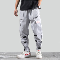 2019 Men's Streetwear Hip Hop Harem Pant Pockets Black Joggers Cargo Pants Male Casual Harajuku Sweatpants Elastic Waist WA134