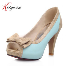 2016 New Plus size 32-43 fashion vintage woman small bowtie platform pumps ladies sexy high heeled shoes  shoes for women
