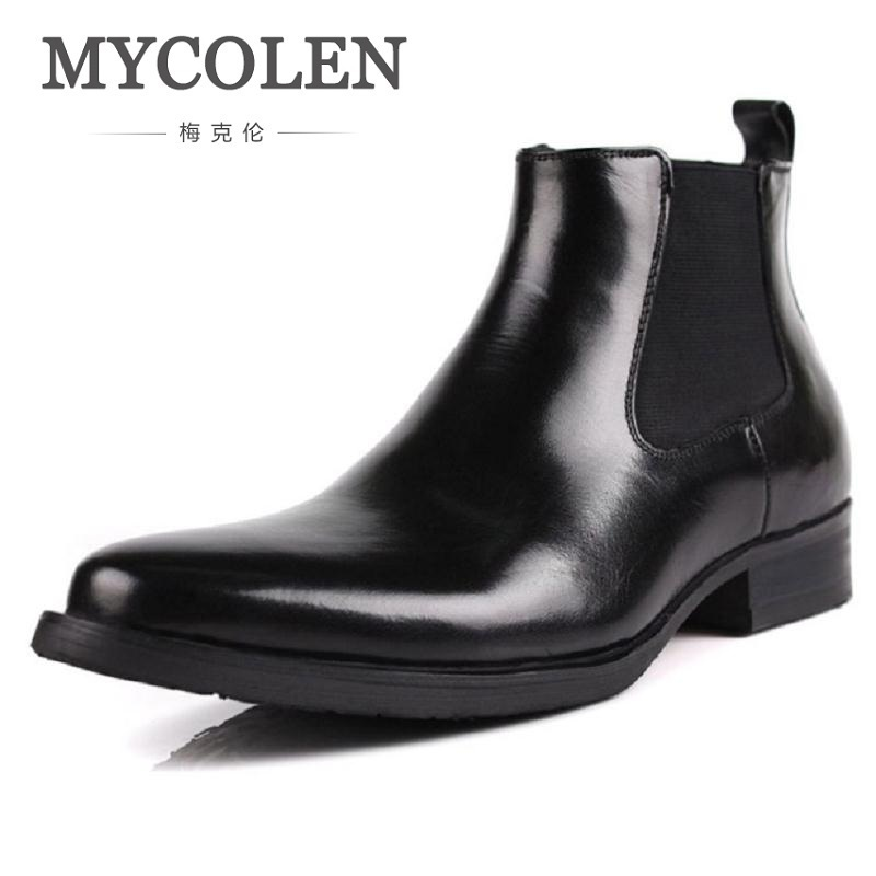 MYCOLEN Autumn Winter Leather Shoes Men Fashion Chelsea Boots Male Brand Designer Ankle Boots Black Sapato Social Masculino mycolen 2017 fashion winter men boots british style working safety boots casual winter men shoes male black leather ankle boots
