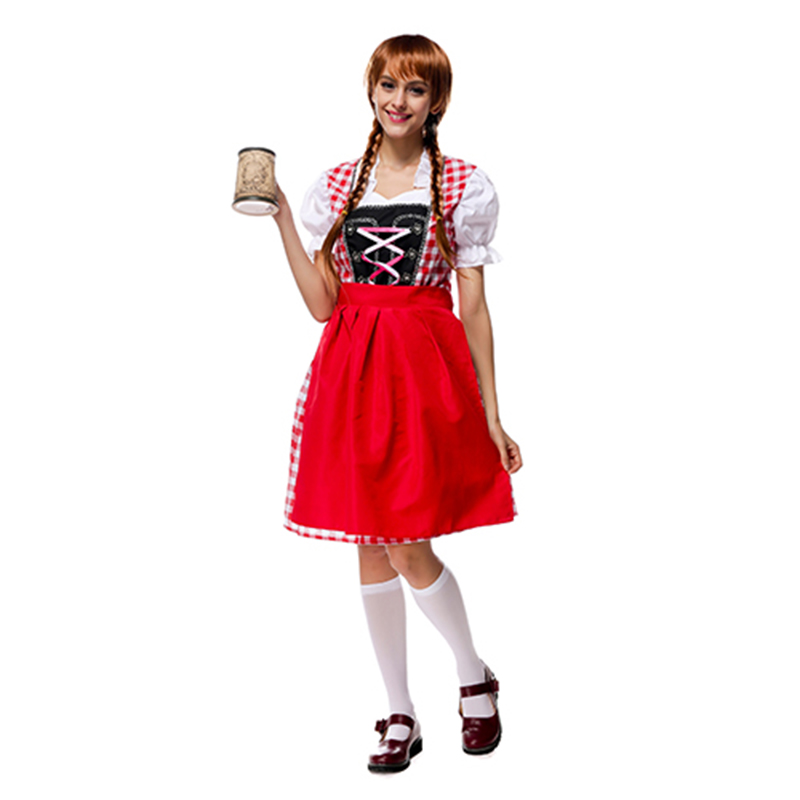 Costumes Adult Women Beer Festival Lively Red Apron and Pink Dresses Suit National Costumes Oktoberfest Event Costumes