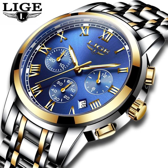 01fdcc45992 LIGE Mens Relógios de Marca de Negócios de Moda de Luxo Relógio de Quartzo  Dos Homens
