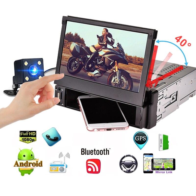 1 Din 7 Inch Telescopic CAR MP5 Radios Media Player Quacore HD Android 5.1 IOS Car GPS Navigator Multimedia Player FM/AM Radio