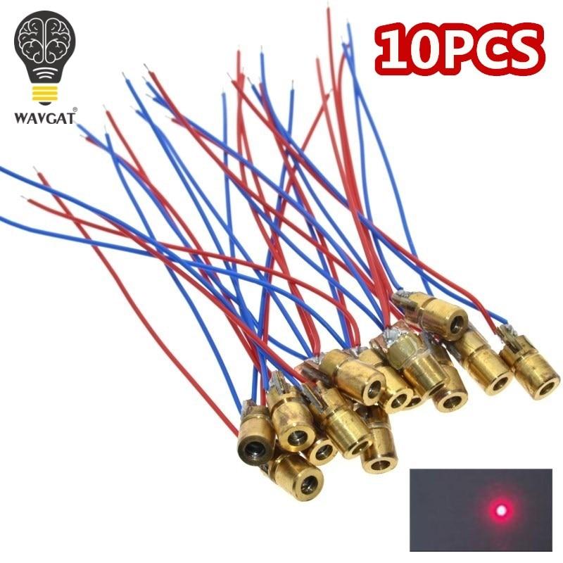 WAVGAT 10 шт. 5 в 650нм 5 мВт Регулируемый точечный модуль лазерного диода красный прицел Медная головка мини лазерная указка
