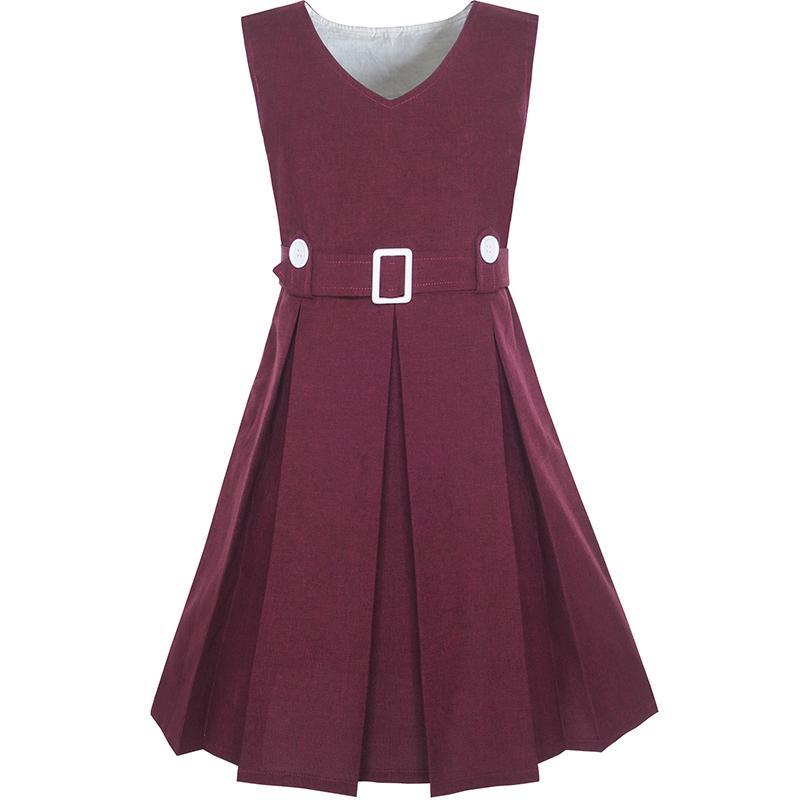 Girls Dress Maroon Button Back School Uniform Pleated Hem 2018 Summer Princess Wedding Party Dresses Children Clothes Size 6-14 цены онлайн