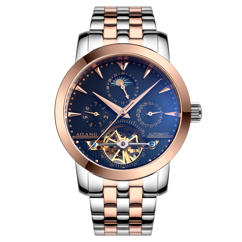 AILANG 2606 Switzerland watches men luxury brand automatic moon phase hollow tourbillon Top Brand Stainless Steel Business ailang 8221a switzerland watches men luxury brand automatic double tourbillon moon phase hollow business watch relogio masculino