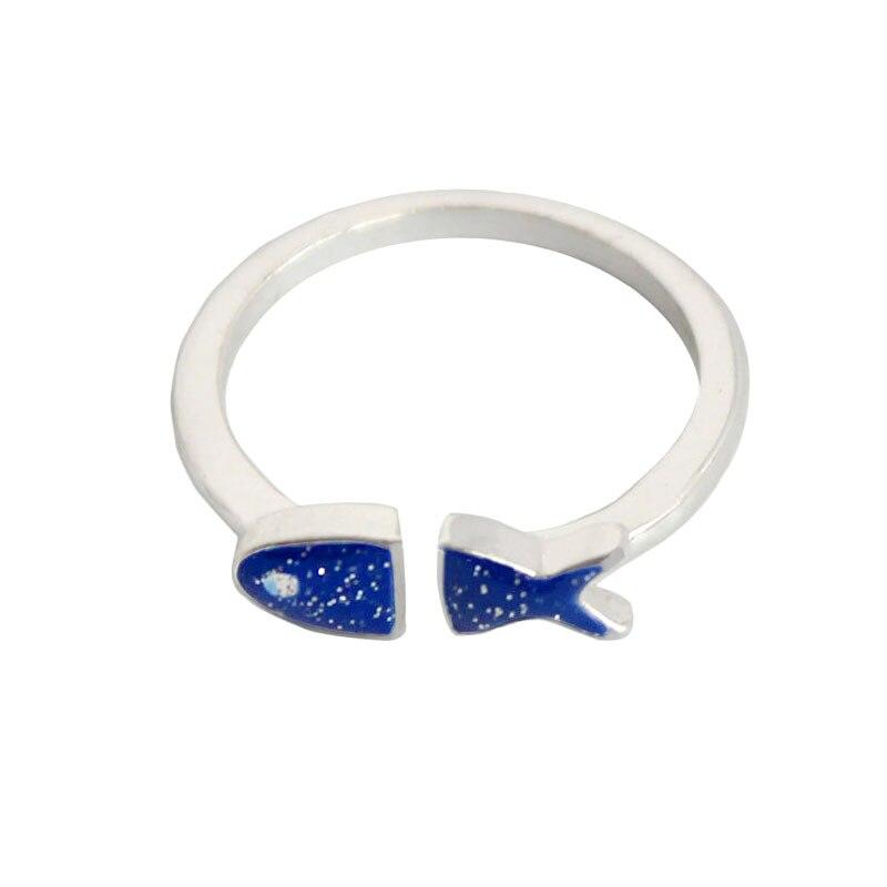 Anel Para A mulher de SANSUMMER Azul Doce Bonito Gotejamento Esmalte Peixe Anel de Abertura Ajustável Anel 2019 New Style Holiday Gift 5039