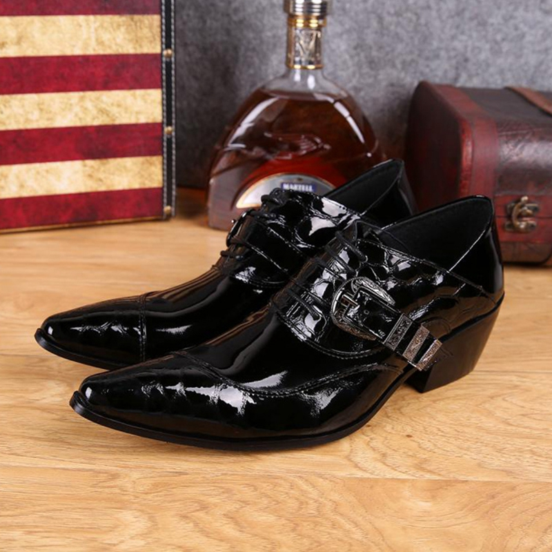 Plus Size Italian Designer Pointed Toe Lace up Man Banquet Foorwear High Heels Patent Leather Men