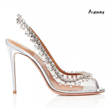 Aiyoway Spring Women Shoes Peep Toe High Heel Sandals Crystal Strap PVC Heels Slingback Ladies Wedding Party Shoes Silver недорого