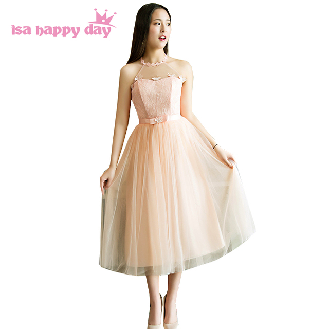 girls peach color halter neck beauty tulle pageant gown bridesmaid ...