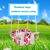 Children Canvas Swing Chair Hammock Garden Furniture Outdoor Indoor Printed Pattern Hanging Seat Child Swing Seat