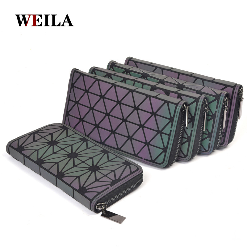 Wallet Purses Card-Holder Laser-Bag Small Luminous Women Long-Clutch Lattice Carteira
