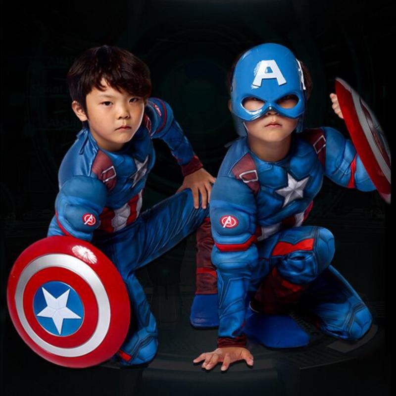 Superhero Kids Muscle Captain America Kostym Avengers Child Cosplay - Nye produkter - Bilde 3