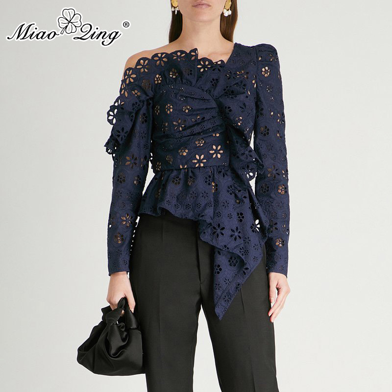 MIAOQING Lace Shirts Blouse Female Long Sleeve Off Shoulder Hollow Out Asymmetrical Tops Female Autumn 2019 Sexy Fashion