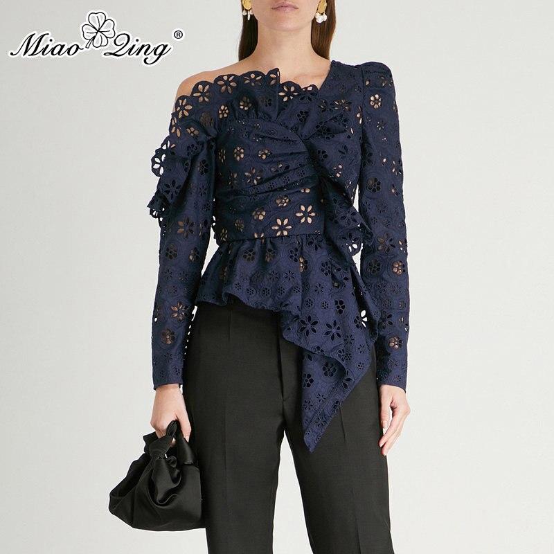MIAOQING Spitze Shirts Bluse Weibliche Lange Hülse Off Schulter Aushöhlen Asymmetrische Tops Weibliche Herbst 2019 Sexy Mode
