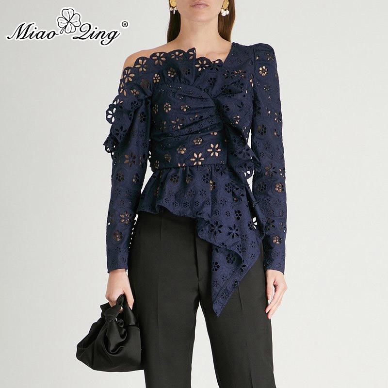 MIAOQING dentelle chemises Blouse femme à manches longues hors épaule évider hauts asymétriques femme automne 2019 mode Sexy
