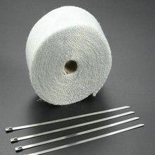 5 メートル * 2 インチ白排気管テープマフラーパイプヘッダグラスファイバーテープ Exhaunt ラップテープ排気熱ラップ