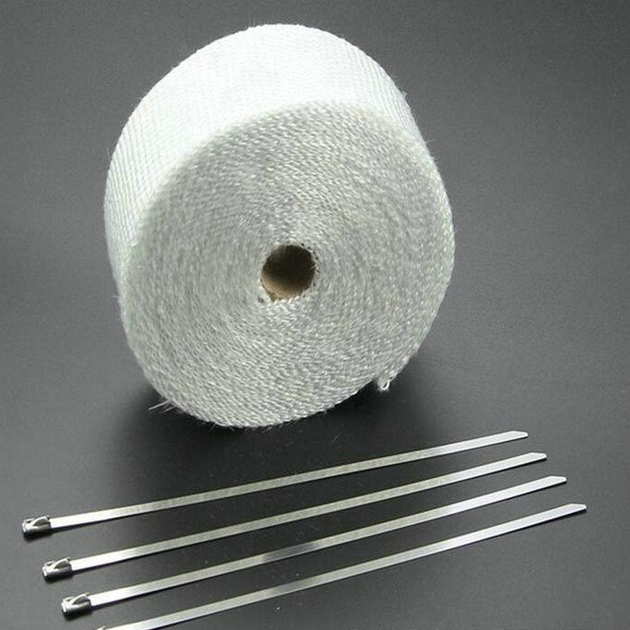 5m*2inch White Exhaust Pipe Tape Muffler Pipe Header Fiberglass Tape Exhaunt Wrap Exhaust Tape Exhaust Heat Wrap-in Exhaust & Exhaust Systems from Automobiles & Motorcycles