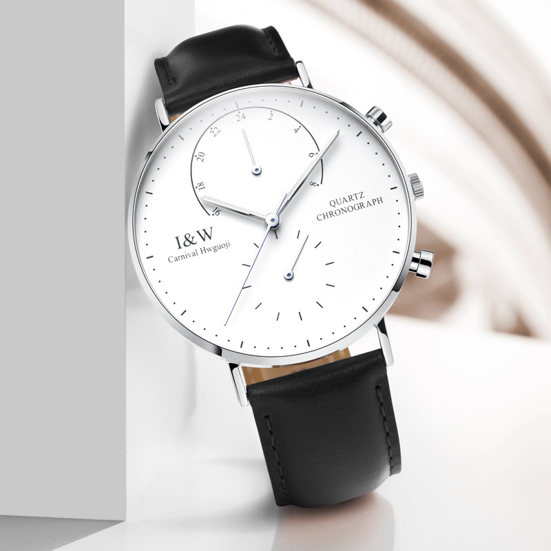 New Carnival Simple Quartz Watch Men Dual Time Zone Luminous Ultra-Thin Leather Strap Five Hands Rose Gold Wristwatch yelang v1209 fly back dual time zone tritium luminance sapphire mirror nylon strap multi orange hands men sport quartz watch