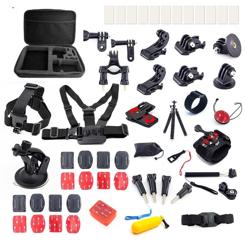 Pour Go pro hero 6 5 4 3 mijia xiaomi yi 4 k Kit accessoires trépied fixation bâton Gopro Session SJCAM SJ4000 Action Sport caméra