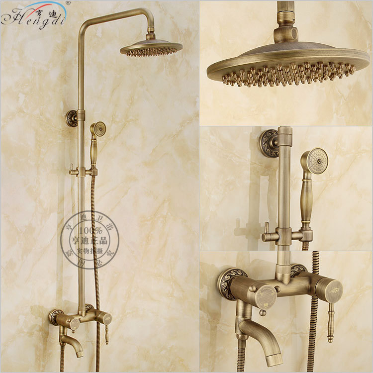 Bathroom Retro antique copper Brass Bathtub Shower Set Wall Mounted 8 Rainfall Shower Mixer Tap Faucet 3-functions Mixer Valve