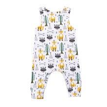 Весенне-летний комбинезон без рукавов с рисунком лисы для маленьких мальчиков и девочек, длинный комбинезон, хлопковая одежда