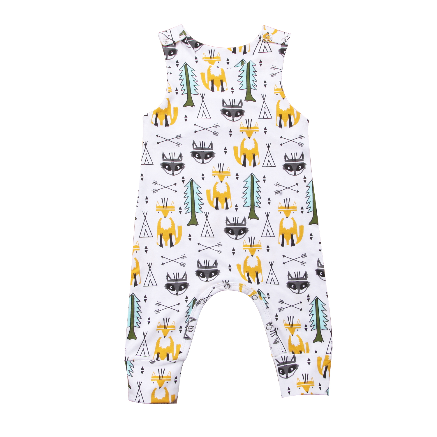 Spring Summer Sleeveless Baby Boy Girl Infant Fox   Romper   Long Jumpsuit Cotton Clothes