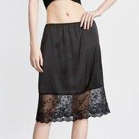 2018 winter silk women's half slips women underskirt female sexy lace petticoats waist elastic femme black solid slip