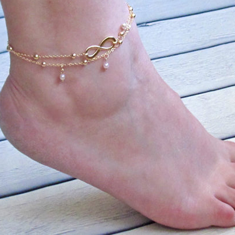 Trendy Infinity Pearl Beach Foot Chain Anklets Handmade Layered Leg Ankle Bracelets for Women Bohemian Jewelry