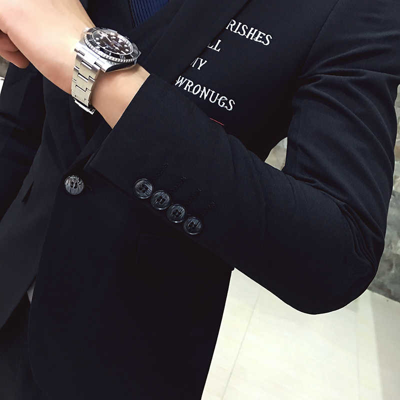 2016 new arrival high quality printed letter skinny black men's suits,white printed blazer men size S,M,L,XL,XXL