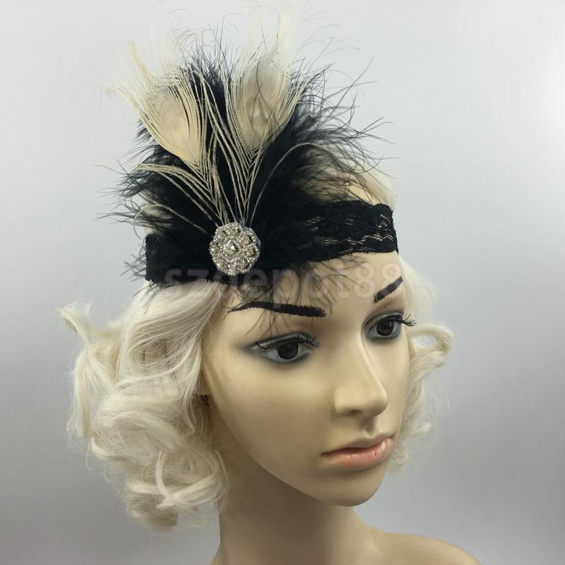 Vintage Retro Feather Headpiece Flapper Vintage 1920s Great Gatsby Headband