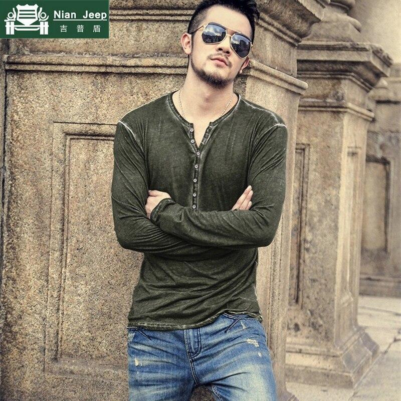 Alta qualidade de algodão do vintage henry t camisa masculina causal manga longa botão v-neck 6 cor respirável magro camiseta tamanho euro M-3XL