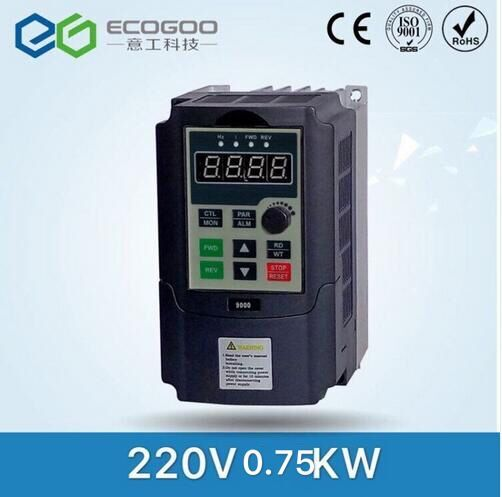 VFD single phase 220V in and 3 phase out frequency converter 750W 0.75KW 5A Drive single phase moto speed