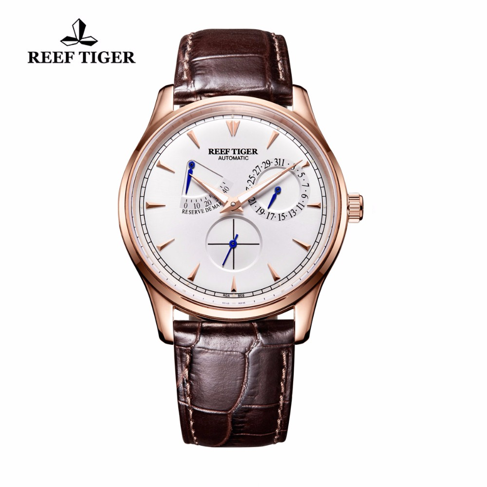 Reef Tiger/RT Mens Elegant Automatic Watches with Power Reserve Complete Calendar Rose Gold Watch RGA1980 reef tiger rt mens elegant automatic watches with power reserve complete calendar rose gold watch rga1980