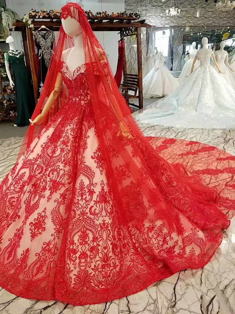 LS244441 赤ヴィンテージ花嫁の結婚式のパーティードレスの肩の恋人ボールガウン女性特別な日のドレスベール