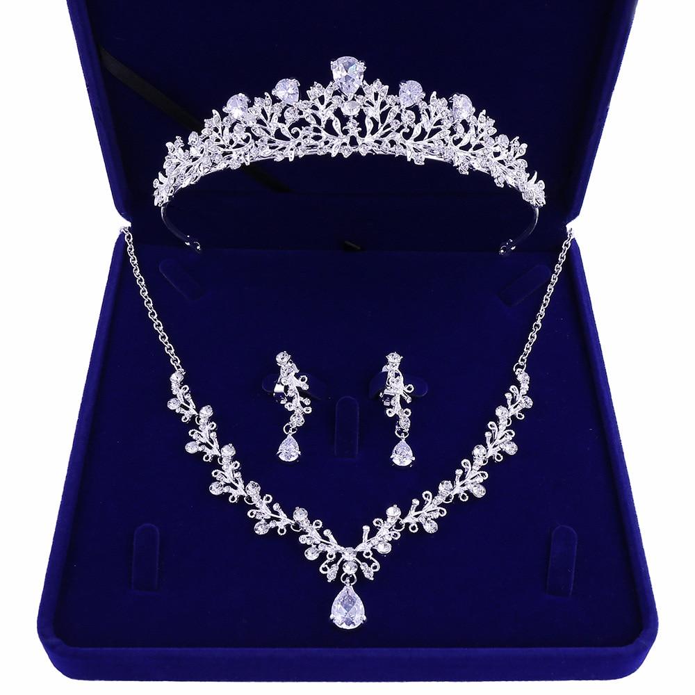 9877186818_469885438 - Luxe Noble Feuille De Cristal, Bijoux De Mariée Strass Couronne Diadèmes Collier Boucles D'oreilles, Perles Africaines,