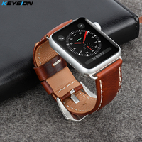 KEYSION Vintage Leather Strap For Apple Watch 38mm 42mm High Quality Genuine Leather Watchband For