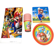 Happy Birthday Events Party Tablecloth Baby Shower Super Mario Theme Napkins Tableware Set Decorations Plates Cups 61PCS/LOT