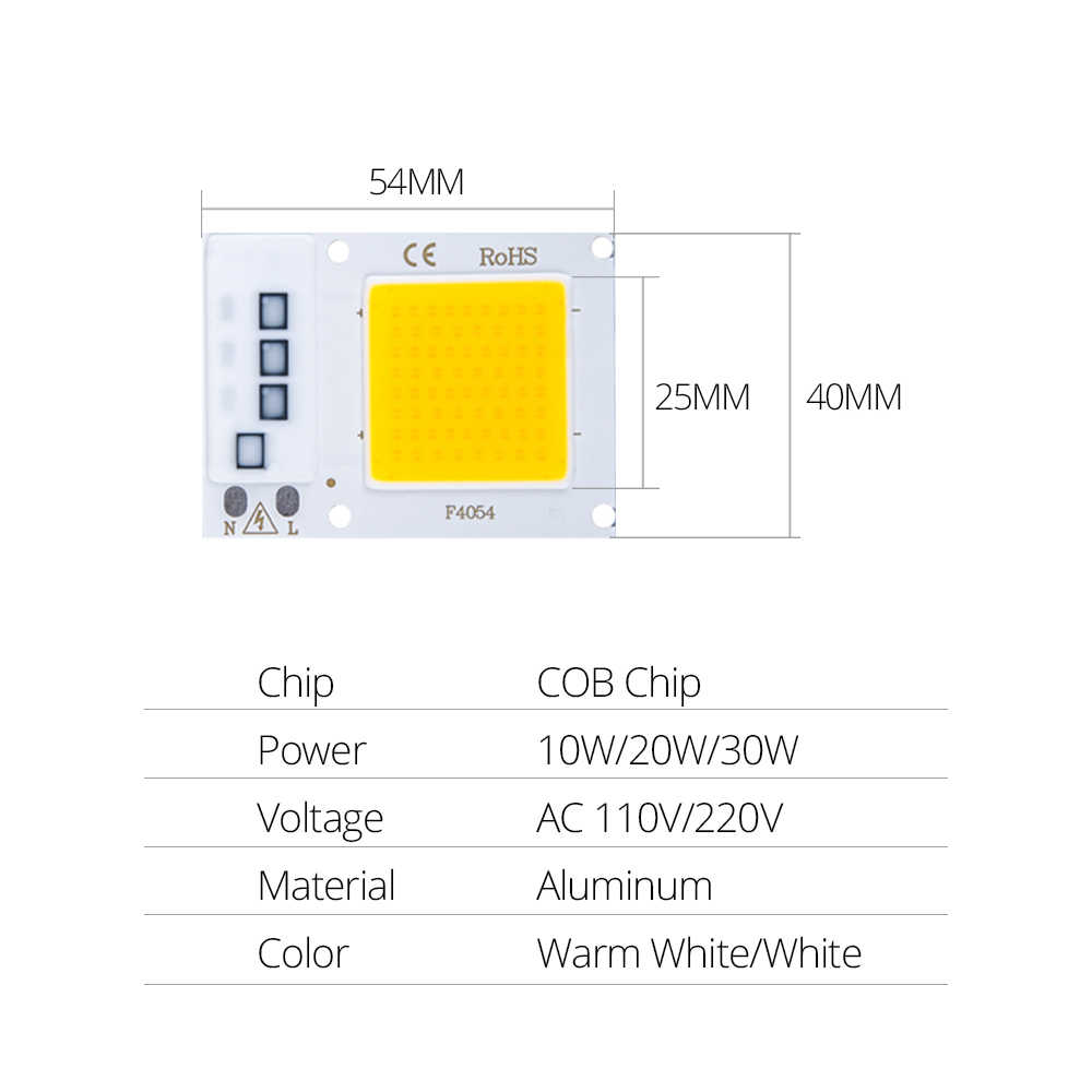 SMD COB Light Beads Spotlight AC 110V 220V DOB Chip 10W 20W 30W LED Bulb Smart IC No Need Driver DIY LED Spotlight Floodlight