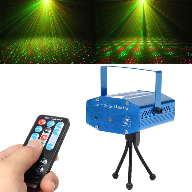 Smuxi Mini Stage Light Auto/Voice LED Laser Projector for DJ Disco Party Christmas Decor Stage Lighting Effect + Remote Control dhl free shipping led laser stage lighting 5 lens 80 patterns rg mini led laser projector 3w blue light effect show for dj disco