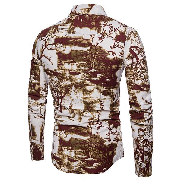 Long Sleeve Men's Shirt Ethnic Style Linen Shirts Men Casual Dress Blouse Men's Clothing Slim Fit New