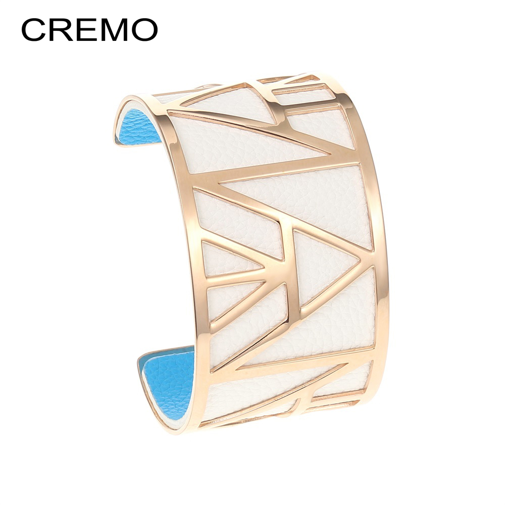 Cremo Egypt Pyramid Stainless Steel Bracelet Femme Manchette Bangle 40mm Reversible Leather Band Wide Bracelets Bangles Arm Cuff